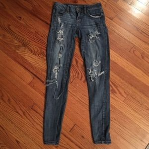 American Eagle jegging super stretch distressed